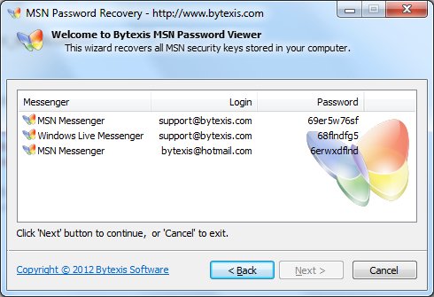 Bytexis MSN Password Recovery v. 1.0.115.2012