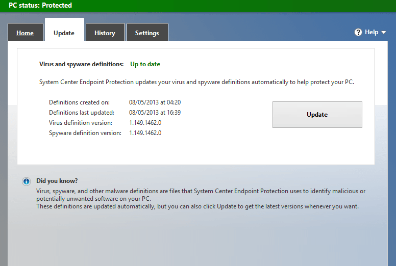 Windows Defender Definition Updates 1.165.3983.0